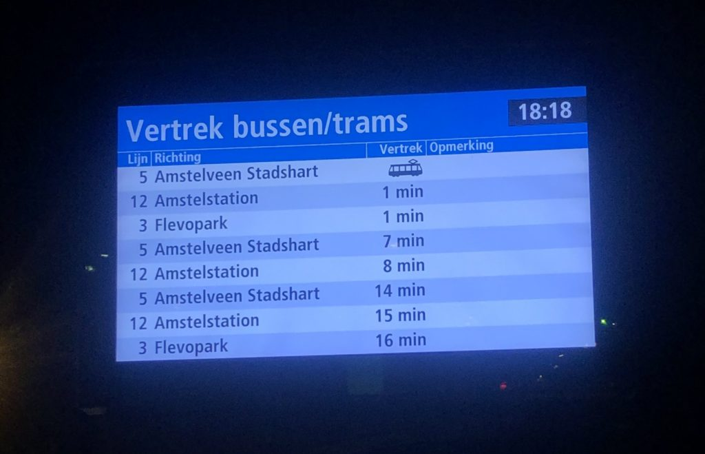 In Real-Time Sign at Bus/Tram Stop